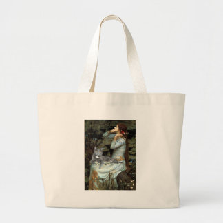 Ophelia - Grey cat Large Tote Bag