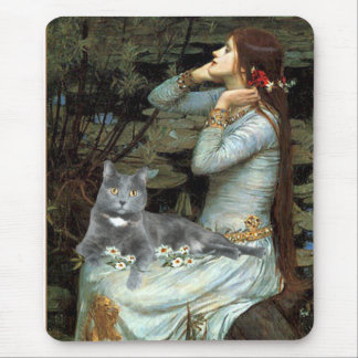 Ophelia - Grey cat Mouse Pad