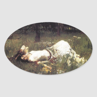 Ophelia Laying in the Meadow Oval Sticker