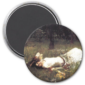 Ophelia Lying in the Meadow 3 Inch Round Magnet