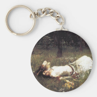 Ophelia Lying in the Meadow Basic Round Button Keychain