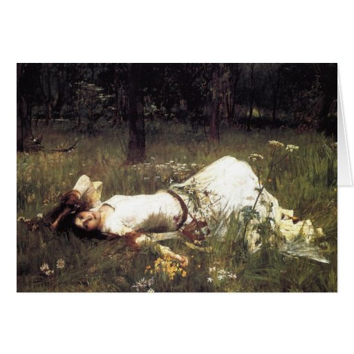 Ophelia Lying in the Meadow Greeting Cards