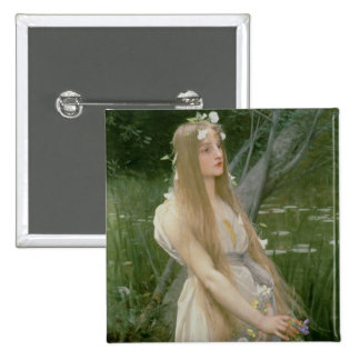 Ophelia (oil on canvas) pinback button