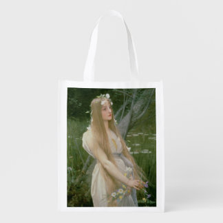 Ophelia (oil on canvas) reusable grocery bag