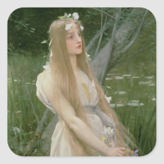 Ophelia (oil on canvas) square sticker