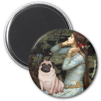 Ophelia - Pug 17 - fawn 2 Inch Round Magnet