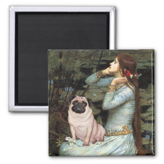 Ophelia - Pug 17 - fawn 2 Inch Square Magnet