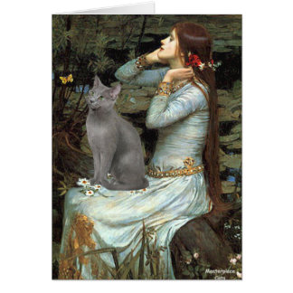 Ophelia - Russian Blue cat Greeting Card