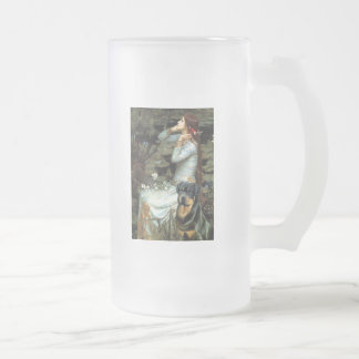 Ophelia Seated - Rottweiler #3 16 Oz Frosted Glass Beer Mug