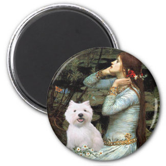Ophelia Seated - Westie 2 2 Inch Round Magnet