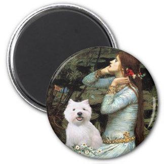 Ophelia Seated - Westie 2 Fridge Magnets