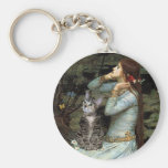 Ophelia - Tabby Tiger Cat 31 Basic Round Button Keychain