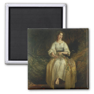 Ophelia weaving her garlands, 1842 (oil on panel) magnet