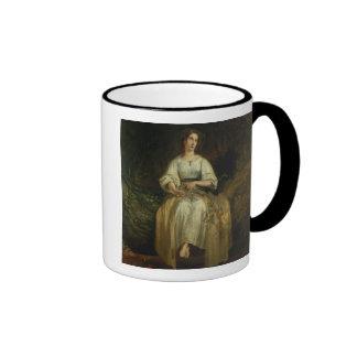 Ophelia weaving her garlands, 1842 (oil on panel) ringer coffee mug