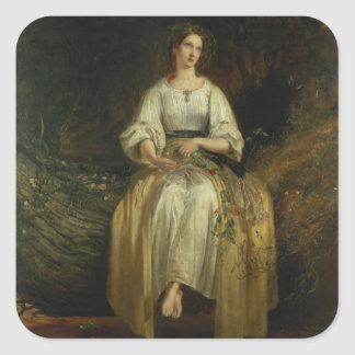 Ophelia weaving her garlands, 1842 (oil on panel) square sticker