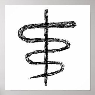 Ophiuchus. Astrological Zodiac Sign. Black. Print