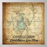 Ophiuchus Constellation Star Map Serpens Poster