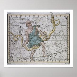 Ophiuchus or Serpentarius, from 'A Celestial Atlas Print
