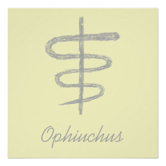 Ophiuchus. Zodiac Sign in Gray. Posters
