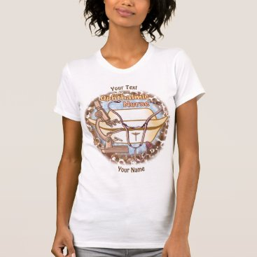 Beach Themed Ophthalmic Nurse Collage custom name womens tshirt