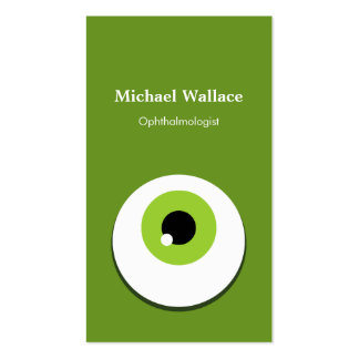 Ophthalmologist - Funny Large Green One Eye Double-Sided Standard Business Cards (Pack Of 100)