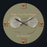 """Ophthalmologist, Optometrist, Optician Spectacles Large Clock<br><div class=""""desc"""">It&#39;s the perfect clock for the eye specialist, whether ophthalmologist, optometrist, or optician. Antique spectacles remind us of the long history of eyeglasses, while the tabbed buttons in place of numbers add a modern feel. You can edit all the text, including its color, and you can also choose the color...</div>"""