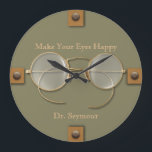 "Ophthalmologist, Optometrist, Optician Spectacles Large Clock<br><div class=""desc"">It&#39;s the perfect clock for the eye specialist, whether ophthalmologist, optometrist, or optician. Antique spectacles remind us of the long history of eyeglasses, while the tabbed buttons in place of numbers add a modern feel. You can edit all the text, including its color, and you can also choose the color...</div>"