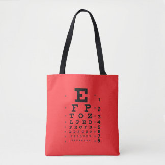 Ophthalmology Eye Chart Science Pop Art Red Tote Bag