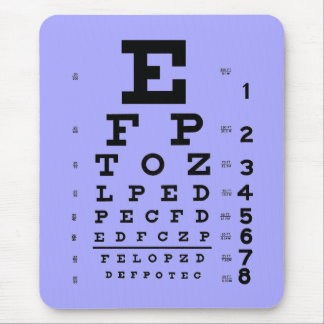 Ophthalmology Optometry Eye Chart Periwinkle Mouse Pad