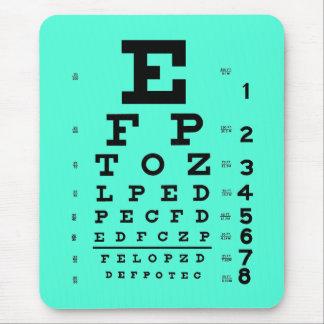 Ophthalmology Optometry Medical Eye Chart Aqua Mouse Pad