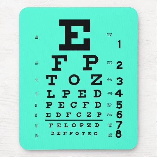 Ophthalmology Optometry Medical Eye Chart Aqua Mouse Pad Zazzle