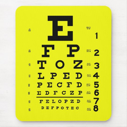 Ophthalmology Optometry Medical Eye Chart Yellow Mouse Pad Zazzle
