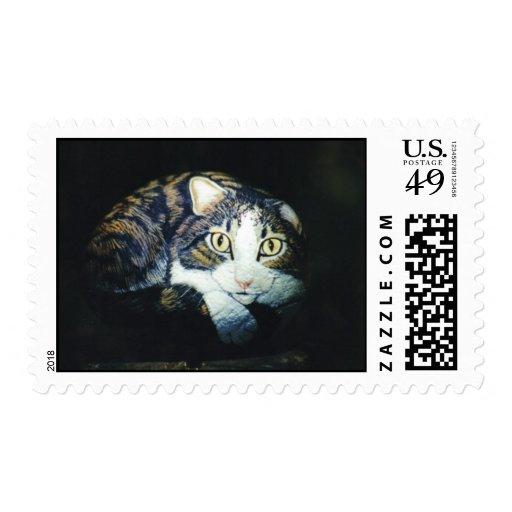 """""""Opie"""" cat rock stamp"""