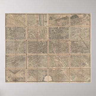 Opinión 1739 de Turgot y mapa de París Francia Bre Poster
