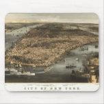 Opinión 1856 de ojo de pájaros de New York City NY Alfombrillas De Ratones