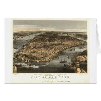 Opinión 1856 de ojo de pájaros de New York City NY Tarjeton