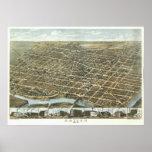 Opinión 1870 de Dayton Ohio del vintage Póster