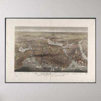 Opinión 1873 de la ciudad de Boston Póster