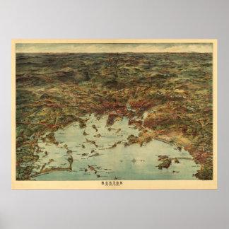 Opinión 1905/mapa de Boston del vintage Posters