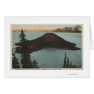 Opinión #1 del lago crater, Oregon - isla del mago Tarjeta De Felicitación