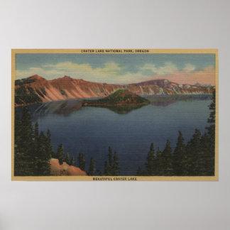 Opinión #2 del lago crater, Oregon - isla del mago Póster