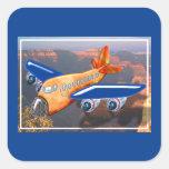 Opinión aérea del aeroplano asombroso calcomania cuadradas personalizadas