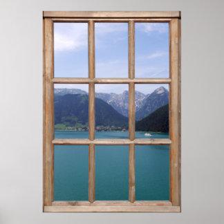 Opinión alpina del lago de una ventana impresiones