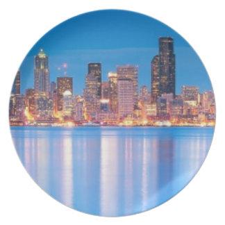 Opinión azul de la hora de Seattle céntrica Plato