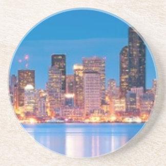 Opinión azul de la hora de Seattle céntrica Posavasos Personalizados