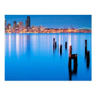 Opinión azul de la hora de Seattle céntrica Postal