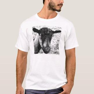 Opinión blanco y negro de la cabeza de la cabra de playera