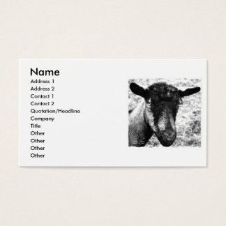 Opinión blanco y negro de la cabeza de la cabra de tarjetas de visita