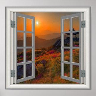 Opinión coreana de la ventana del templo budista póster
