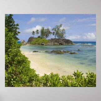 Opinión costera sobre la isla de Mahe Póster
